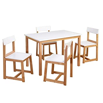 Target Marketing Systems 5-Piece Aria Dining Set, White/Natural