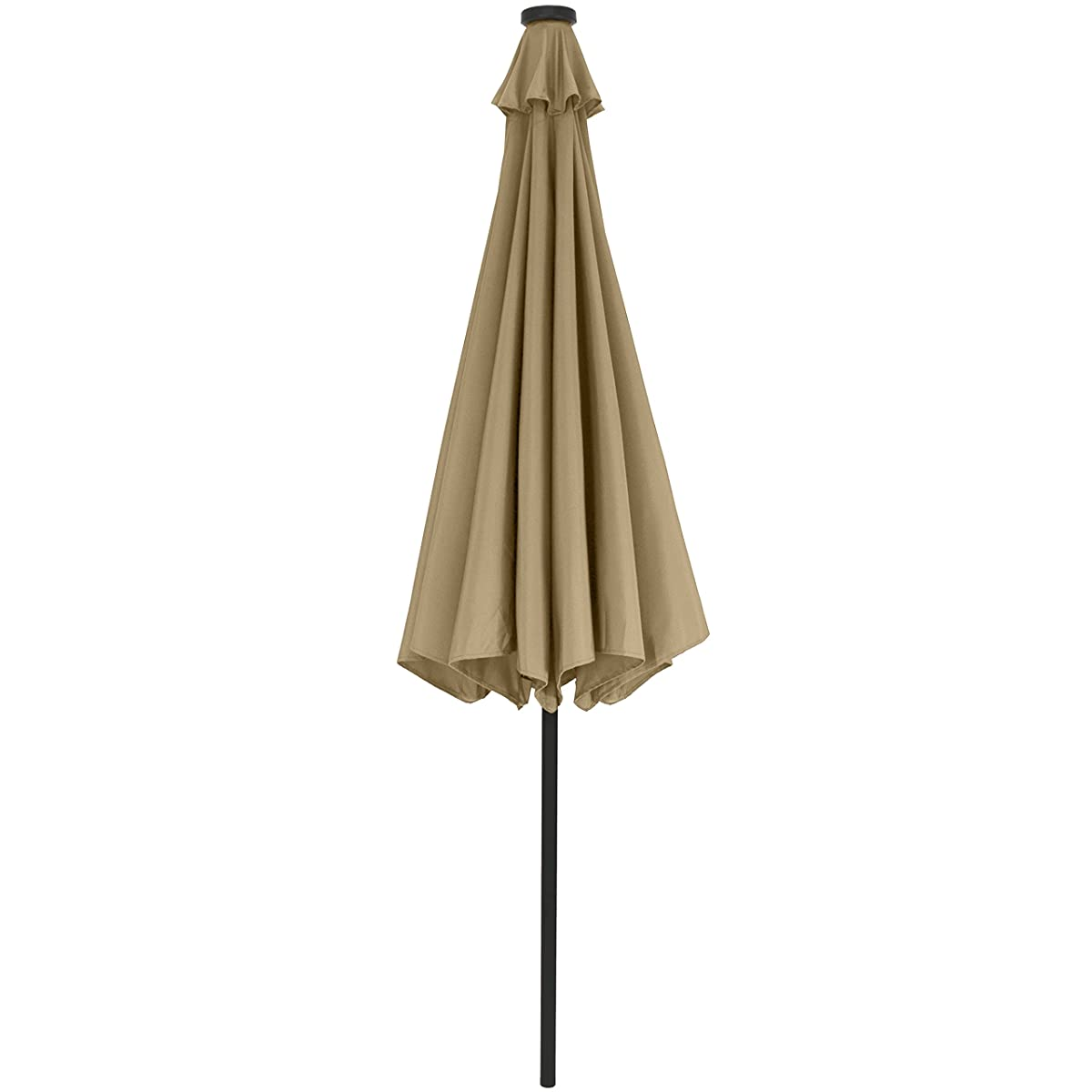 Best Choice Products 10 Deluxe Solar LED Lighted Patio Umbrella With Tilt Adjustment-Tan