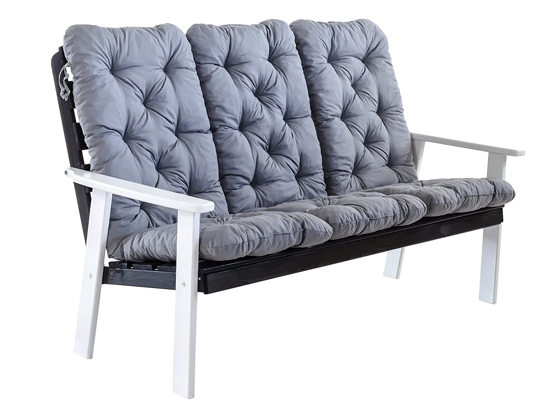 Ambientehome 90394 3-er Bank Gartenbank Holzbank Loungebank Massivholz Hanko Maxi mit Kissen, weiß / grau