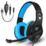Anksono Gaming Headset for PC PS4, 3.5MM Wired Over-ear Headphone with Microphone and Volume Control for Nintendo Switch, Laptop, iPad, Cell Phone, Blue (Color: Black/Blue)