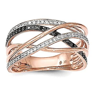 14k Rose Gold Polished 2 Diamond/Blk Diamond Band Ring