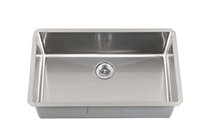 Schon SCRASB321916 Undermount 16-Gauge Zero Radius Single Bowl Kitchen Sink 32-Inch by 19-Inch, Stainless Steel