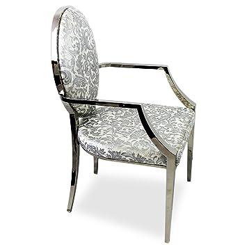 hochwertiger luxus polsterstuhl esszimmerstuhl k chenstuhl stahlgestell mit velourbezug silber. Black Bedroom Furniture Sets. Home Design Ideas