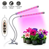 [2018 Latest Upgrade] Plant Grow Light Kit 18W Dual Head LED Timing Lamp with Red/Blue Spectrum Chip Bulbs for Indoor and Greenhouse Plants, Flexible Double Tube 3/6/12 Hour Timer, 4 Dimmable levels