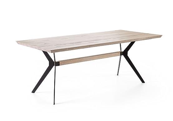Tavolo da pranzo 200 x 100 cm rovere sbiancato massiccio