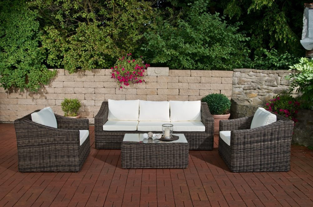 CLP Poly-Rattan Garten-Garnitur BEMALDA, 5 mm RUND Rattan, 5 Sitzplätze: 3-1-1, 3er-Sofa, 2 x Sessel, Tisch ca. 100 x 60 cm grau-meliert