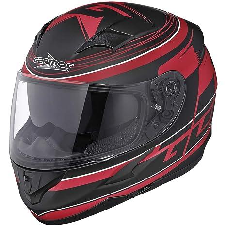 Germot gM 306 motif casque intégral en aBS/polycarbonate mat/noir/rouge