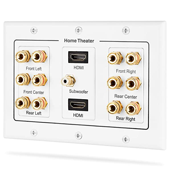 Fosmon HD8005 [3-Gang 6.1 Surround Distribution] Home Theater Copper Banana Binding Post Coupler Type Wall Plate for 6 Speakers, 1 RCA Jack for Subwoofer & 2 HDMI Ports (Color: 3-Gang 6.1 Surround + Dual HDMI, Tamaño: 6.1)