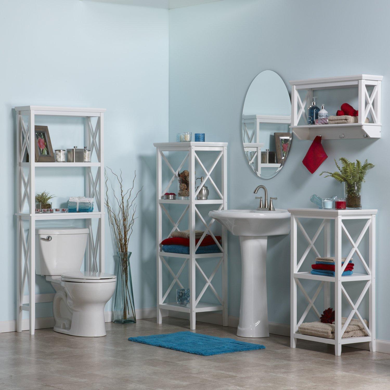 Sourcing Solutions X-Frame Bathroom Wall Shelf, White Finish ...