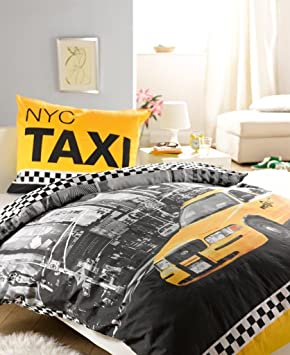 Linge de lit parure housse de couette 160x200 taie 70x80 for Housse de couette taxi jaune new york