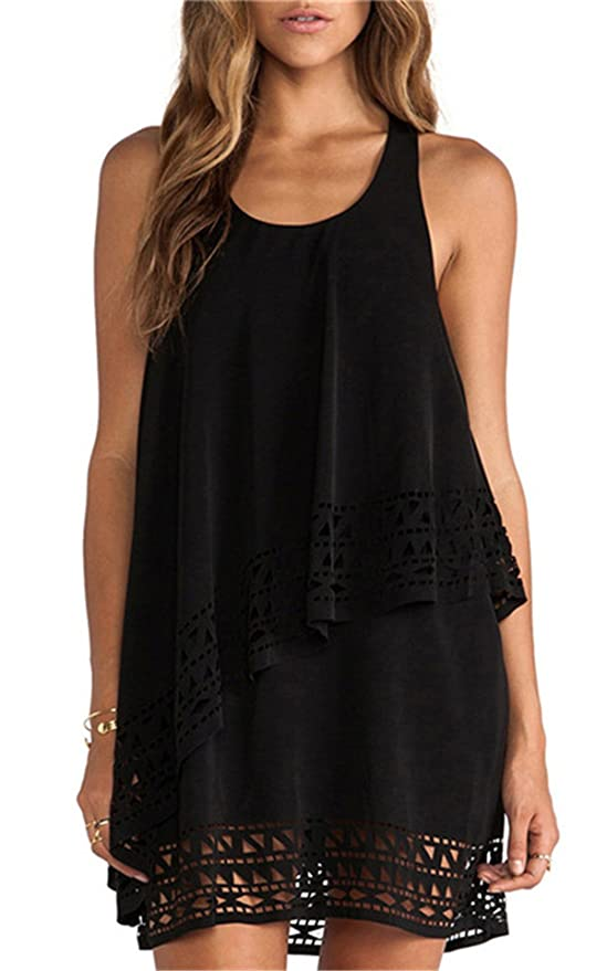 SheIn Women's Plain Black Sleeveless Ruffle Shift Dress