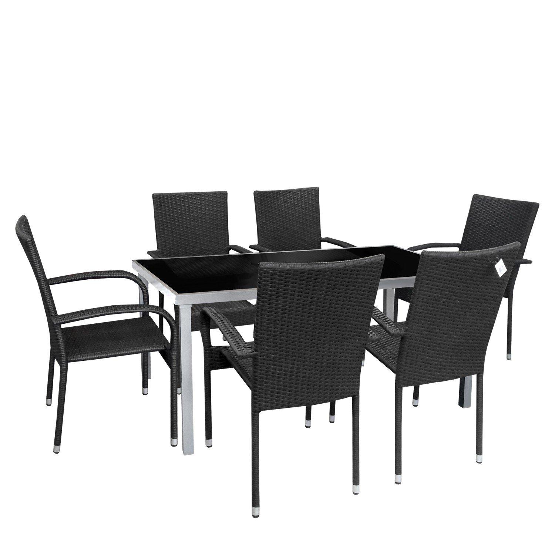 7tlg gartengarnitur aluminium gartentisch glastisch for Glastisch schwarz