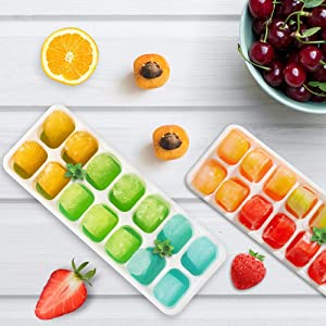 KitDraw Ice Cube Trays of 14 Easy Release out Cubes with Stackable Removable Lid BPA-Free, Dishwasher Safe, Baby Food Storage, Chocolate Mold, 2 Pack