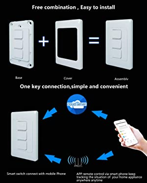 Light Switch, WiFi enabled, Compatible with Alexa and the Google Assistant,IFTTT,LED/Incandescent Switch,No Hub Required,Neutral wire requires (two gang) (Tamaño: two gang)
