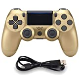 Wireless Controllers for PS4 Playstation 4 Dual Shock Six-axis,Bluetooth Remote Gaming Gamepad Joystick (Gold) (Color: 1Gold)