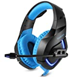 Stereo Gaming Headset for PS4, PC, Xbox One Controller, Noise Cancelling Over Ear Headphones with Mic, LED Light, Bass Surround, Soft Memory Earmuffs for Laptop Mac Nintendo Switch Games (Color: Blue)