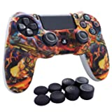 PS4 Controller Grip,Hikfly Skin Silicone Gel Controller Cover Case Protector Compatible for PS4/PS4 Slim/PS4 Pro Controller (1x Controller Cover with 8 x FPS Pro Thumb Grip Caps)(White Win) (Color: White Win, Tamaño: PS4 Print Style)