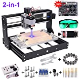 2-in-1 3000MW Laser Engraver CNC 3018 Pro Engraving Machine, GRBL Control 3 Axis DIY Mini CNC Machine Wood Router Engraver with Offline Controller + ER11 Extension Rod + CNC Router Bits (Tamaño: 203549-US6)