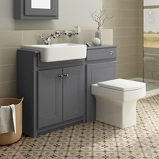 Grey Bathroom Vanity Basin Sink Unit + Back to Wall Toilet Storage Furniture Set
