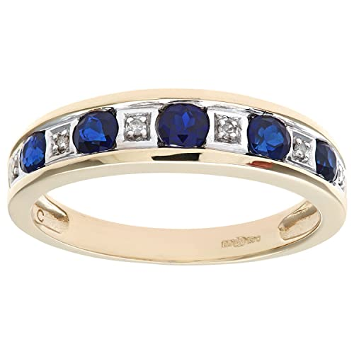 Naava Round Brilliant Sapphire and Diamonds 9ct Eternity Ring
