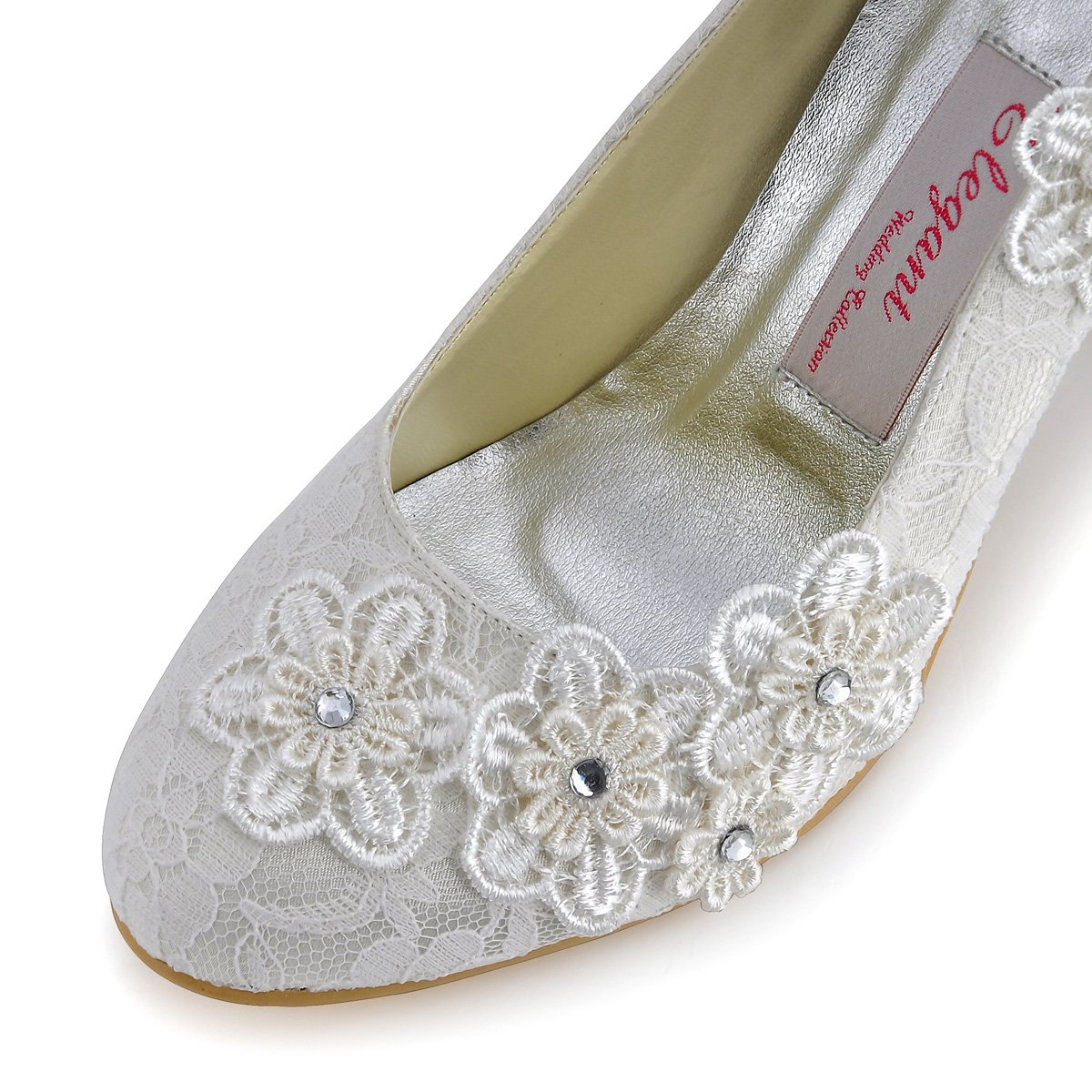 ElegantPark Women Vintage Closed Toe Pumps High Heel Flowers Lace Wedding Bridal Dress Shoes 4