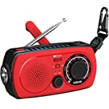 Emergency Radio NOAA Weather Radio - Portable Hand Crank Solar Radio Am Fm Flashlight SOS Alert Cell Phone Charger 2300mAh Power Bank iPhone/Smart Phone ezbnb- red (Color: RED)