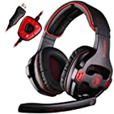[Newly Updated Version] SADES SA903 USB 7.1 Surround Sound Stereo Gaming Headset Over Ear Headphones for PC with Microphone Volume-Control LED Light (Black) (Color: black)