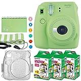 Fujifilm Instax Mini 9 Instant Camera (Lime Green) + Fujifilm Instax Mini Twin Pack Instant Film (60 Exposures) + Glitter Hard Case + Scrapbook Album + Colored Lens Filters + Neck Strap – Full Bundle (Color: Lime Green)