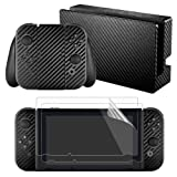 eXtremeRate Black Carbon Fiber Decals Stickers Full Set Faceplate Skins +2Pcs Screen Protector for Nintendo Switch Console & Joy-con Controller & Dock Protection Kit (Color: Black Carbon Fiber)