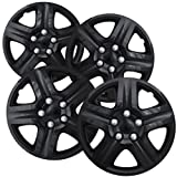 Hubcaps for 16 inch Standard Steel Wheels (Pack of 4) Wheel Covers - Snap On, Ice Black (Color: Black, Tamaño: 16 Inch)
