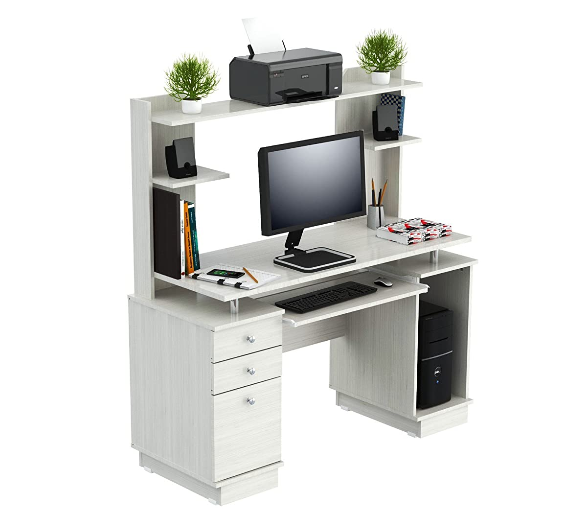 Inval CC 5901 Laura Collection Computer Work Center with Hutch