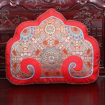 Arhat cama chino cojines de seda Oficina de almohada lumbar [amortiguador de la cintura del coche] almohadas del sofá-E 69x55cm(27x22inch)VersionB
