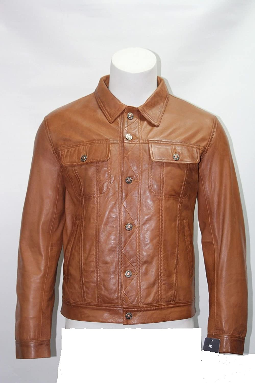Mann Trucker tan Farbe weichen Lammfell echtes Leder kurze Jacke
