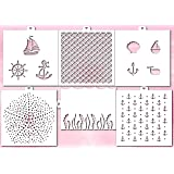 Cookie and Craft Stencil Set Sea, 6 pcs: scales, anchor, algae, waves, marine, starfish (Color: White transparent)