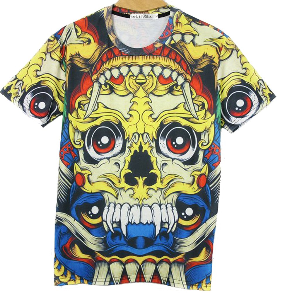 Men's Fashion 3D Creative Hipster Skull Face Print Hip Hop Style T-Shirts