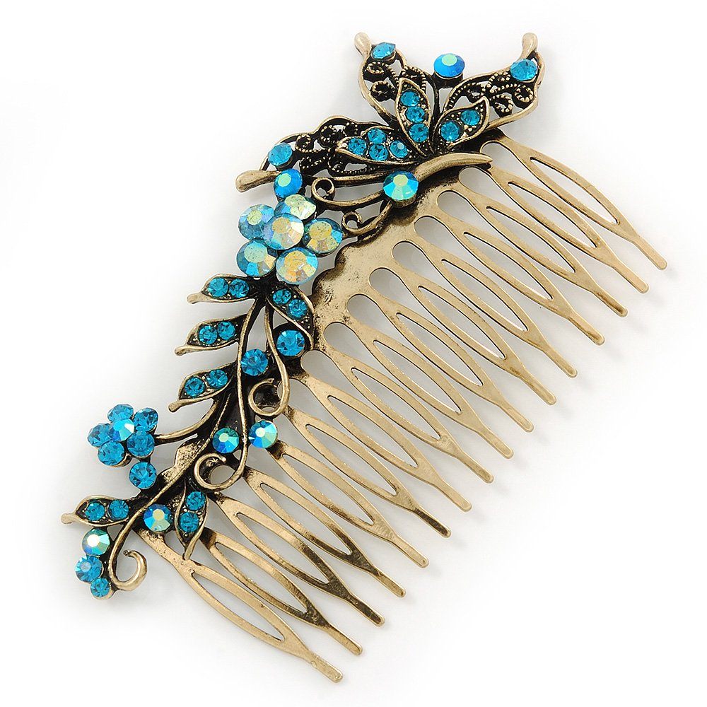 Vintage Inspired Teal Blue Swarovski Crystal 'Flower & Butterfly' Side Hair Comb In Antique Gold Tone - 115mm 0