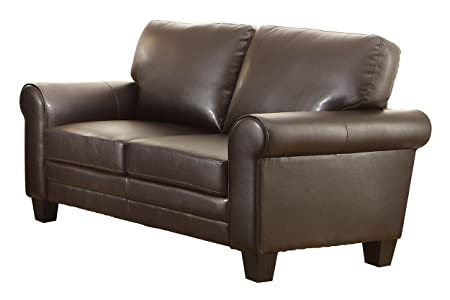Homelegance 8579DB-2 Upholstered Loveseat, Dark Brown Bonded Leather Match