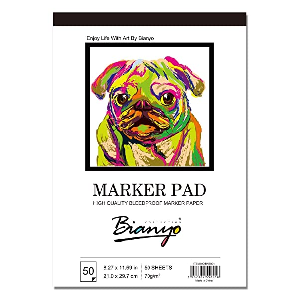 Bianyo Bleedproof Paper for Markers Pad- 9X12- 50 Sheets(Pack of 2 Pads) (Color: White9x12, Tamaño: 8.5*12, 50sheets X 2pads)
