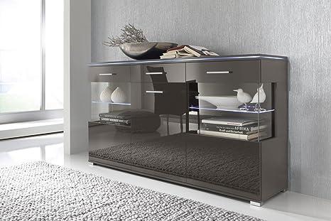 Sideboard Anrichte Kommode lavagrau grau, Fronten hochglanz, optional LED-Beleuchtung, Beleuchtung:Beleuchtung Weiß