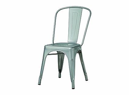 Amazon.com - Monarch Galvanized Metal 2-Piece Cafe Chair, 33-Inch ...