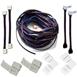 Rxment LED strips connectors full kits, Strip to Strip Jumper, L-shape corner connector RGB Extension Cable, Gapless Connector, Strip to control box (Color: Full connectors kits)