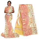 pqdaysun 5 Yards African Net Lace Fabrics Nigerian French Fabric Embroidered and Rhinestones Guipure Cord Lace F50378 (Peach) (Color: peach, Tamaño: 5 yards)