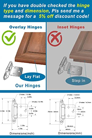 Silver Moon Hardware Overlay Cabinet Hinges, for Kitchen Cabinets, for Bathroom Cabinets, Variable, Self Closing, (25 Pairs Flat Black) (Color: Flat Black - 25 Pairs (For 25 doors), Tamaño: Overlay (Please Read Description before Purchase))