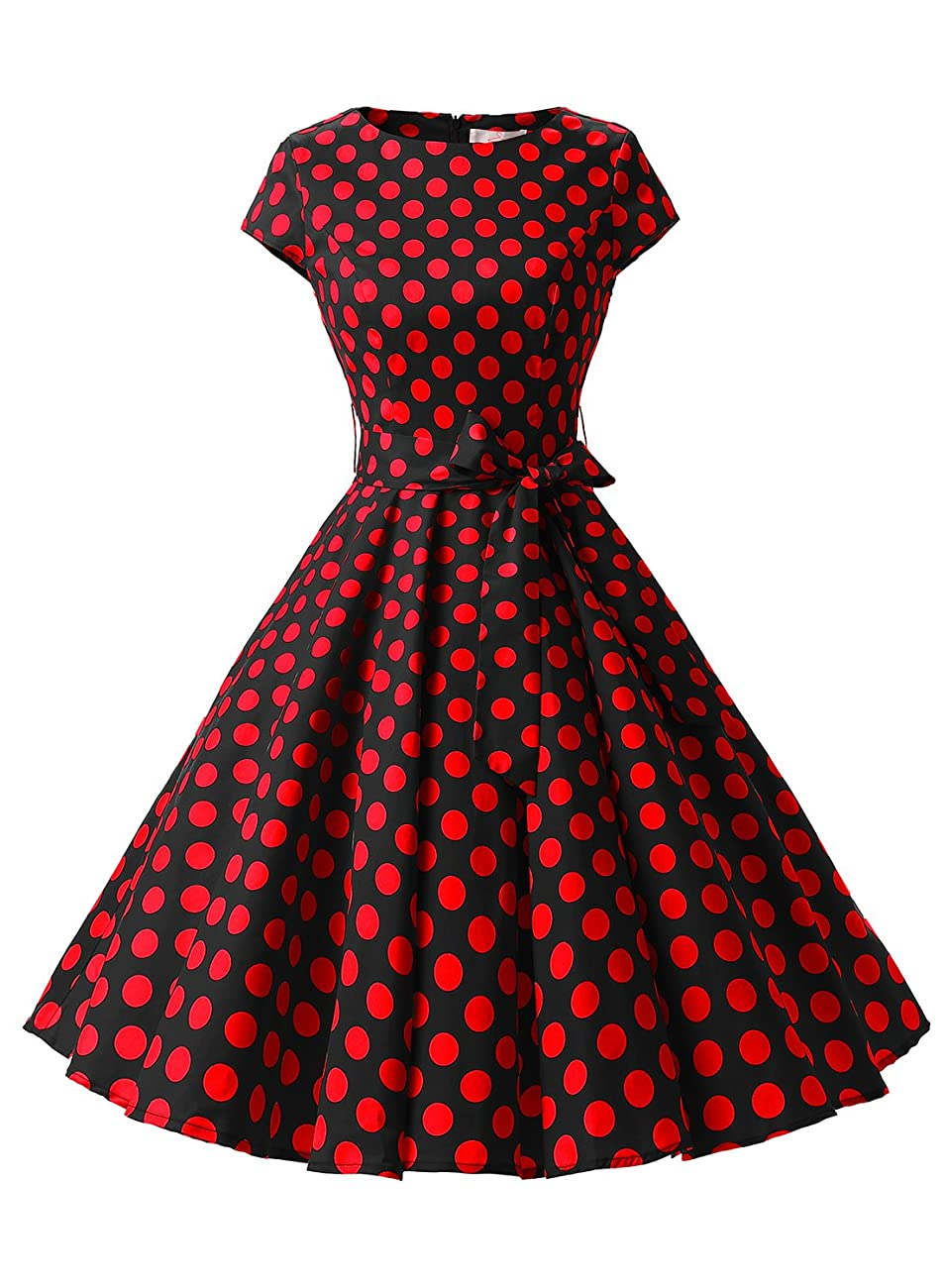 Dressystar Vintage 1950s Polka Dot and Solid Color Party Prom Dresses Rockabilly Cap Sleeves 0