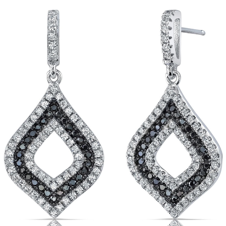 Revoni Damen Ohrringe 925 Sterlingsilber mit Zirkonien schwarz und weiss schenken