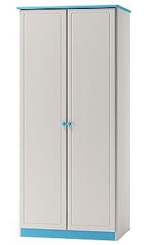 Kleiderschrank massiv, Farbe: Weiß / Blau 160x90x60 cm