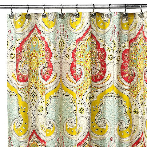 Uphome 72 X 72 Inch Bright India Tropical Shower Curtain with Paisley Patterns-Bright Red and Yellow Heavy-duty Cute Fabric Kids Bathroom Accessories Ideas