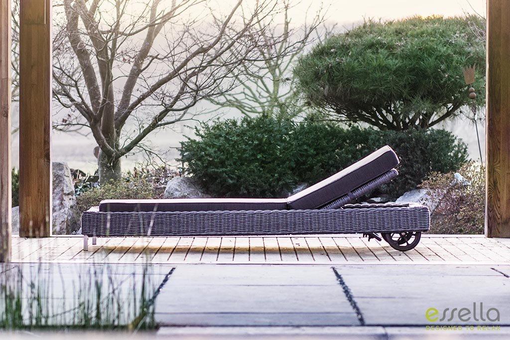 essella Polyrattan Sonnenliege Long Island in Grau-Meliert Rundgeflecht online bestellen