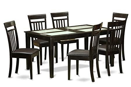 East West Furniture CAP7G-CAP-LC 7-Piece Dining Table Set