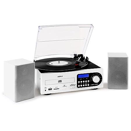 Chaîne stéréo Audiola/Majestic platine vinyle USB SD MMC MP3 FM -blanche